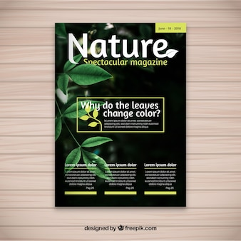 Szablon okładki magazynu nature ze zdjęciem