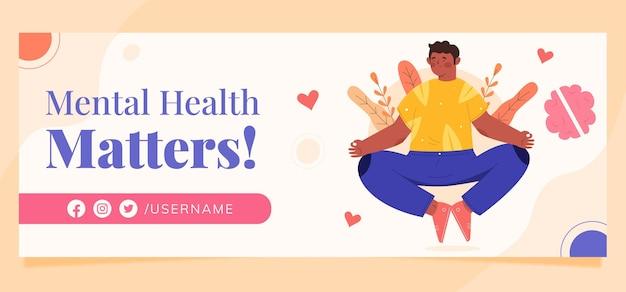 Szablon okładki mediów społecznościowych na temat zdrowia psychicznego