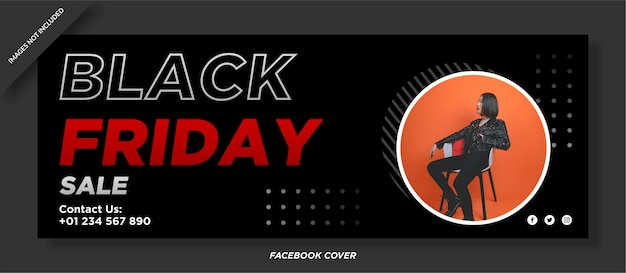 Szablon okładki mediów społecznościowych w czarny piątek sprzedaży