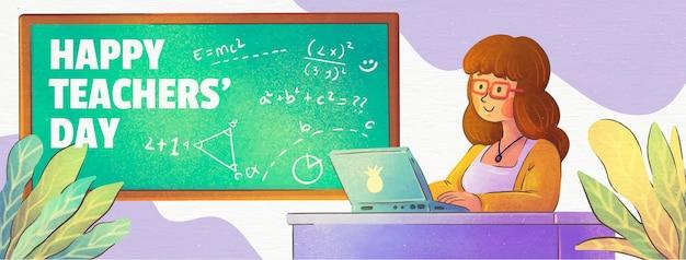 Szablon okładki mediów społecznościowych z okazji dnia nauczyciela akwareli