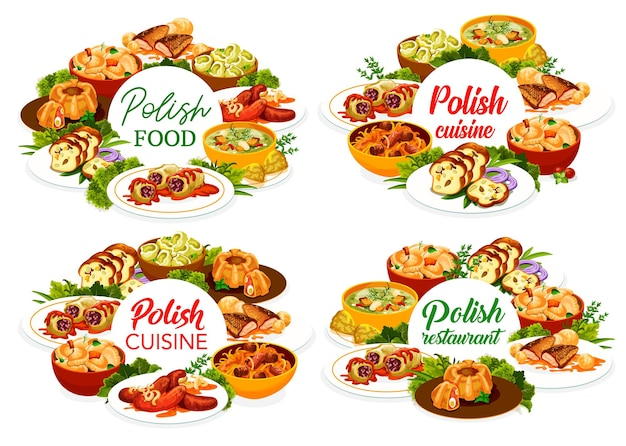 Szablon okładki menu restauracji kuchni polskiej. bigos, zupa i kiełbaski faramushka, krążek klopsa, gołąbki z kalduny i kapusty, karp w sosie, pierogi z ziemniakami i mazurkiem z orzechów laskowych, pieczywo mięsne