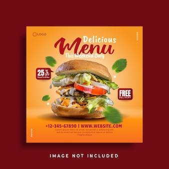 Szablon okładki menu żywności i restauracji w mediach społecznościowych