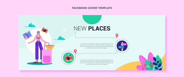 Szablon okładki na facebooku o płaskiej konstrukcji