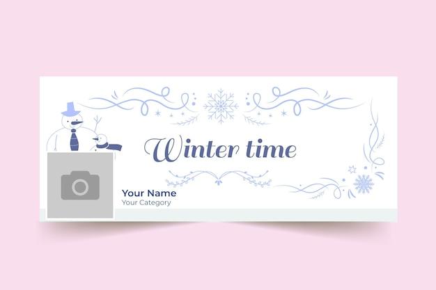 Szablon okładki ozdobny zimowy facebook