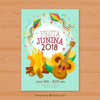 Szablon okładki z ogniskiem na festa junina