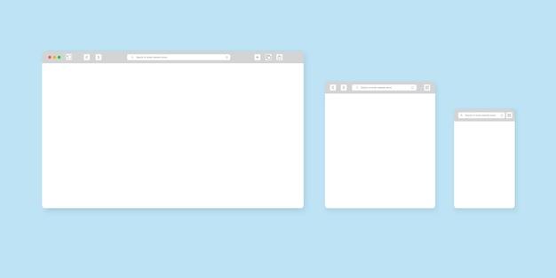 Szablon okna przeglądarki internetowej. przeglądarka internetowa różnych urządzeń. zestaw,