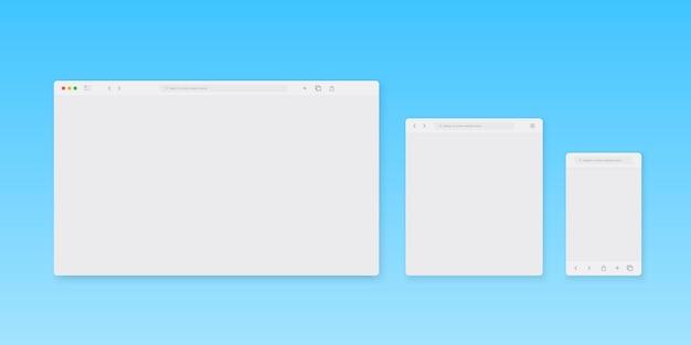 Szablon okna przeglądarki internetowej. różne urządzenia przeglądarki internetowej.