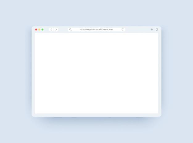 Szablon okna przeglądarki w trybie światła dla strony internetowej, laptopa i komputera.