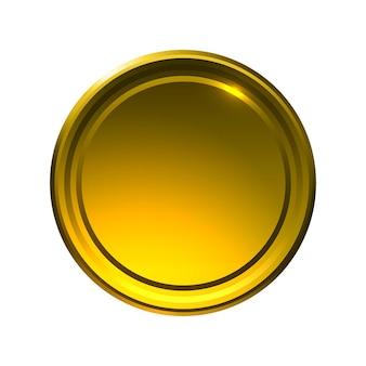 Szablon okrągłej metalowej monety lub guzika ze złotą teksturą na białym złotym medalu i trofeum