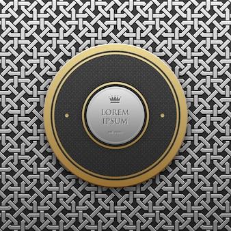 Szablon okrągły tekst szablon na srebrnym / platyny metallic tle bez szwu geometryczny wzór. elegancki styl luksusu.