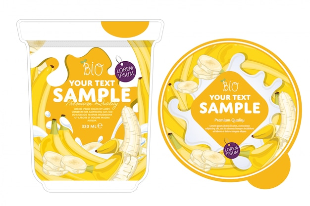 Szablon opakowania jogurtu bananowego.