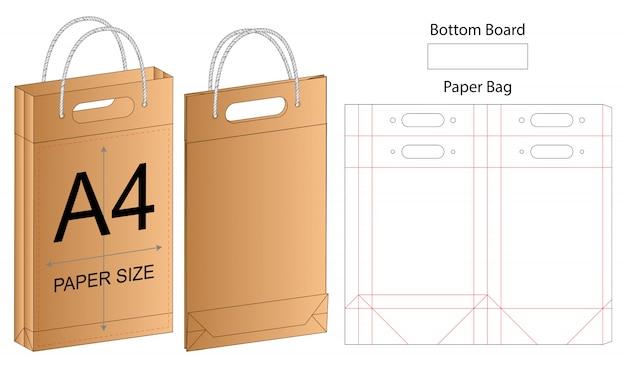 Szablon opakowania papierowej torby wycinane. 3d