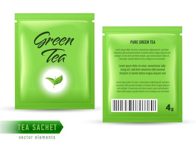 Szablon opakowania saszetki herbaty na białym tle. realistyczna torebka na herbatę.