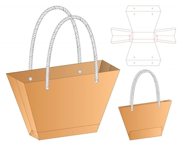Szablon opakowania wycinane torby. 3d