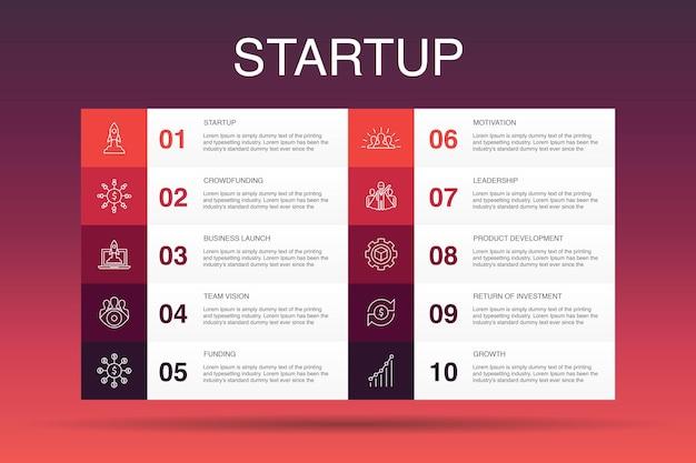 Szablon opcji uruchamiania infografika 10. crowdfunding, uruchomienie biznesu, motywacja, proste ikony rozwoju produktu