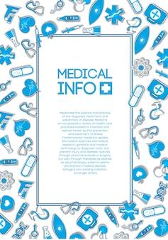 Szablon opieki medycznej z tekstem w ramce i niebieskim papierem ikony i elementy na świetle