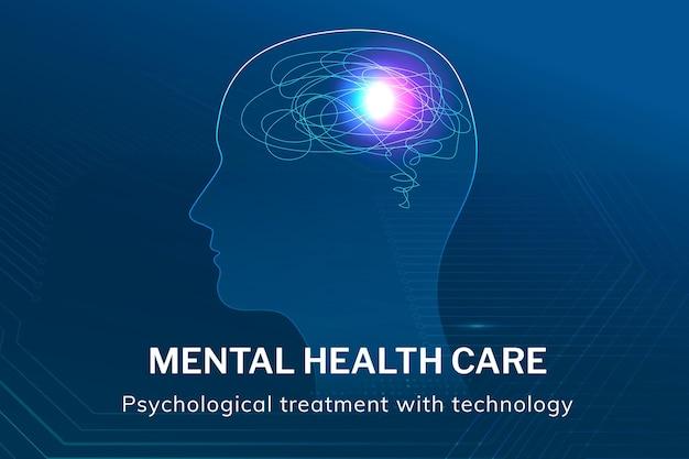 Szablon opieki zdrowotnej dla zdrowia psychicznego wektor technologia medyczna