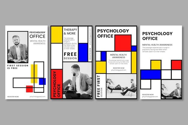 Szablon opowiadań na instagramie w biurze psychologii
