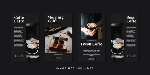 Szablon opowiadań na instagramie z kawą