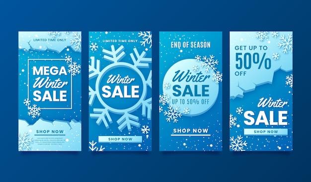 Szablon opowiadań na instagramie zimowej sprzedaży z płatkami śniegu