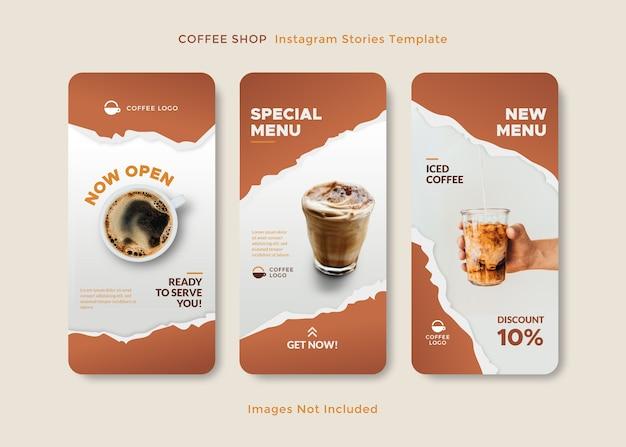 Szablon opowiadania na instagramie z motywem kawiarni