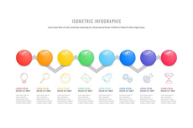 Szablon osi czasu izometryczny infographic z realistycznymi 3d okrągłych elementów. nowoczesny schemat procesu biznesowego