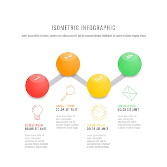 Szablon osi czasu izometryczny infographic z realistycznymi 3d okrągłych elementów.