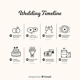 Szablon osi czasu ślubu w stylu liniowym