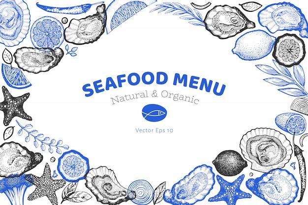 Szablon ostryg i przypraw. ręcznie rysowane ilustracji. banner z owocami morza.