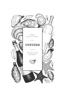 Szablon ostrygi. ręcznie rysowane ilustracji. baner z owocami morza. może być używany do projektowania menu, opakowań, przepisów, targu rybnego, produktów z owoców morza.
