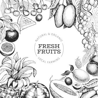 Szablon owoce i jagody. ręcznie rysowane owoce zwrotnik ilustracja. owoc grawerowany. egzotyczne jedzenie w stylu retro.
