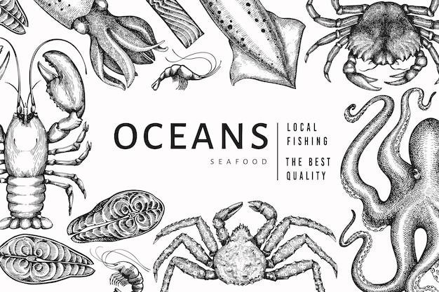 Szablon owoce morza. ręcznie rysowane ilustracja owoce morza. grawerowany baner żywności w stylu. tło vintage zwierzęta morskie