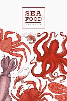 Szablon owoce morza. ręcznie rysowane owoce morza ilustracja. grawerowane jedzenie. tło zwierzęta morskie retro