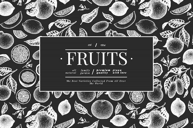 Szablon owoców cytrusowych. ręcznie rysowane owoce ilustracja na tablicy kredą. baner w stylu grawerowanym. vintage rama owoców cytrusowych.