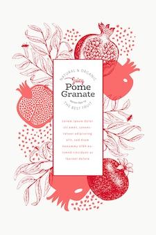 Szablon owoców granatu. ręcznie rysowane ilustracja owoców. grawerowane styl vintage rama botaniczna.