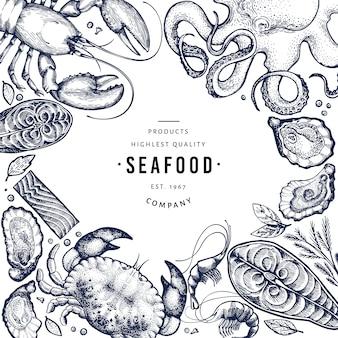 Szablon owoców morza i ryb.