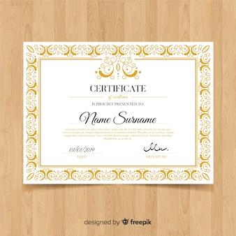 Szablon ozdobny ozdobnych certyfikatów