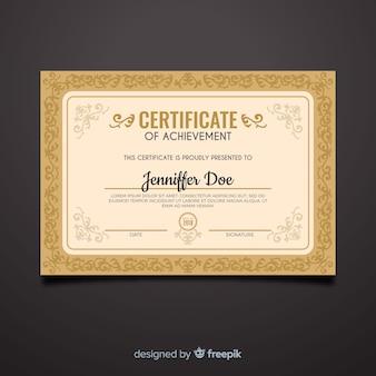 Szablon ozdobny ozdobnych certyfikatu