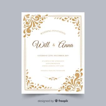 Szablon ozdobnych ślubnej karty