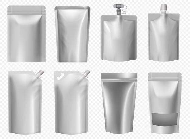 Szablon paczki doy. torebka foliowa na płynne jedzenie, sok, majonez, keczup. zestaw pustych opakowań typu doypack. srebrna plastikowa torba z zamkiem błyskawicznym. aluminiowe opakowanie na kawę i zupy.