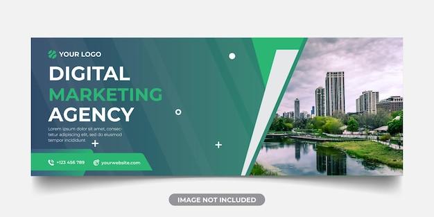 Szablon panoramicznego banera agencji marketingu cyfrowego na okładkę na facebooka