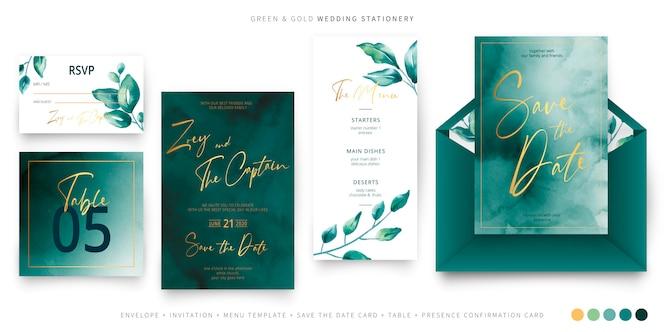 Szablon papeterii ślubnej zielony i złoty