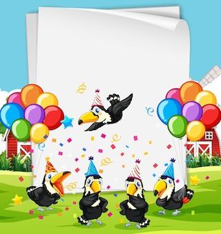 Szablon papierowy z uroczymi zwierzętami w motywie imprezowym