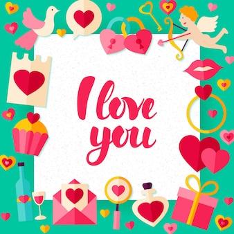 Szablon papieru dzień kocham cię. ilustracja wektorowa płaski koncepcja pozdrowienia walentynki z napisem.