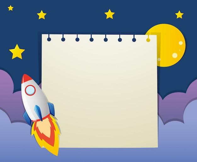 Szablon papieru z rakiet w przestrzeni kosmicznej