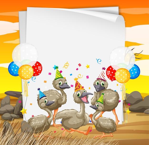 Szablon papieru z uroczymi zwierzętami w motywie imprezowym