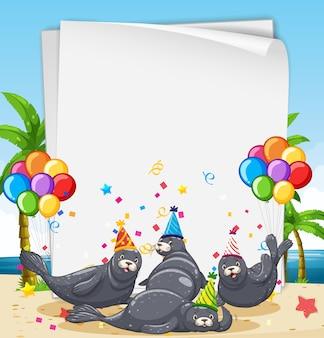 Szablon Papieru Z Uroczymi Zwierzętami W Motywie Imprezowym Darmowych Wektorów