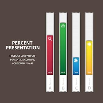 Szablon paska procentowego infographic biznesu z 4 opcjami