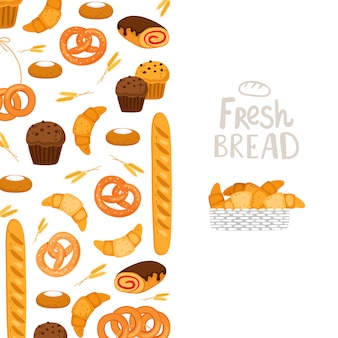 Szablon piekarni. ciasto, świeży chleb, babeczki ilustracja
