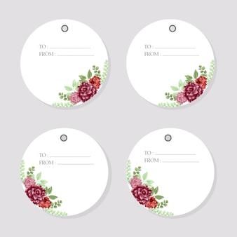 Szablon piękna akwarela kwiatowy etykiety